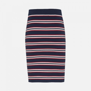 Tommy Jeans W Striped Organic Cotton Fitted Sweater Skirt DW0DW086700A6 Twilight Navy/ Multi