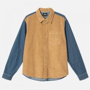 Stüssy Cord Denim Mix Shirt 1110126 Khaki