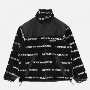 United Standard Fleece Logo Sherpa Jacket 20WUSJC03 Black