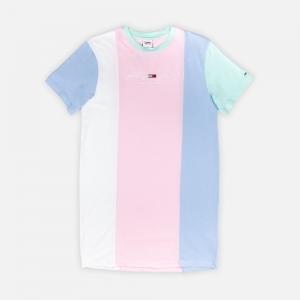 Pastel Colour-Blocked Cotton T-Shirt Dress DW0DW10965TOJ