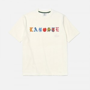 Lacoste L!ve Loose Fit Branded Multi-Color Cotton T-Shirt TH7290-70V