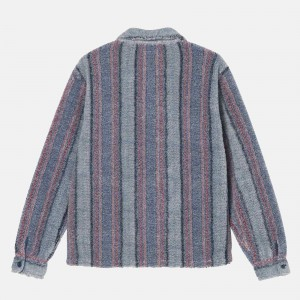 Stüssy Stripe Sherpa Shirt 1110197-BLU