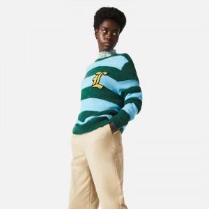 Lacoste Live Unisex Badge Striped Wool Blend Sweater AH7501-1B8