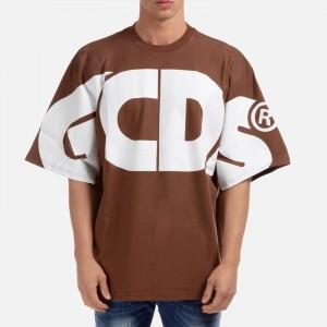 GCDS Macro Logo Round Tee CC94M021006 Brown